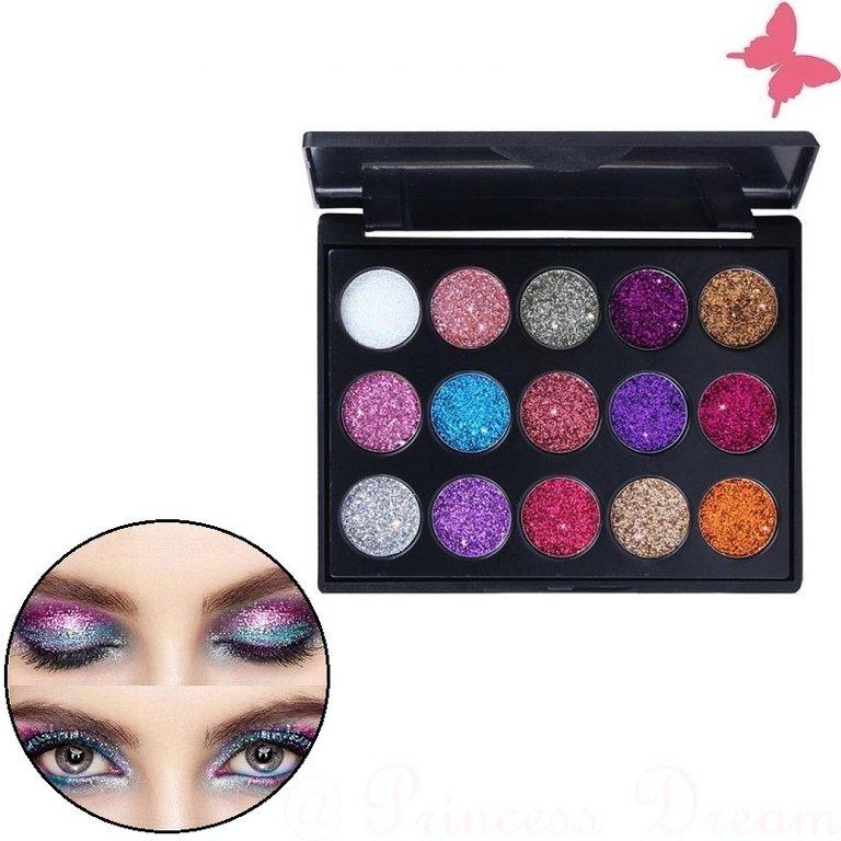 Glitter Lidschatten Palette mit glänzenden Glitzer Pigmenten