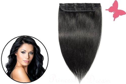 Clip in Extensions Tresse Echthaar mit 5 Clips 50 cm, # 1